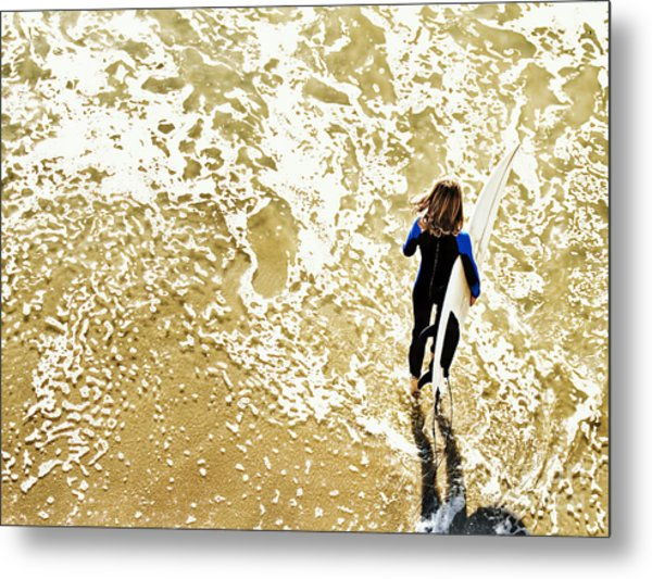 Surfer Girl At Swami's  Metal Print