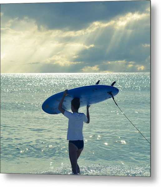 Surfer Girl Square Metal Print
