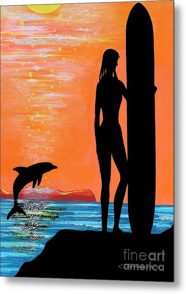 Surfer Girl With Dolphin Metal Print
