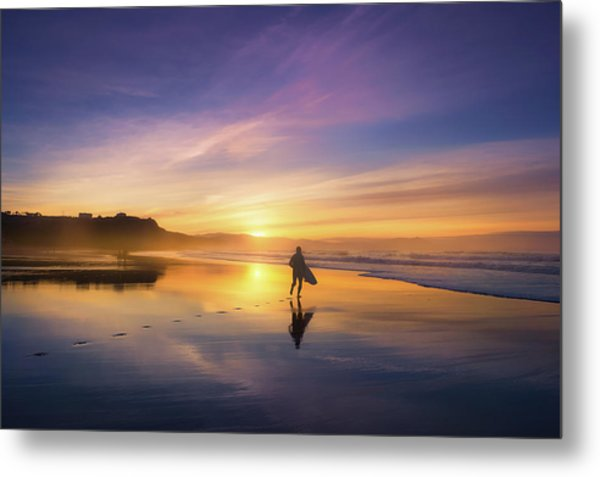 Surfer In Beach At Sunset Metal Print