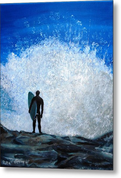 Surfer On Jetty Metal Print