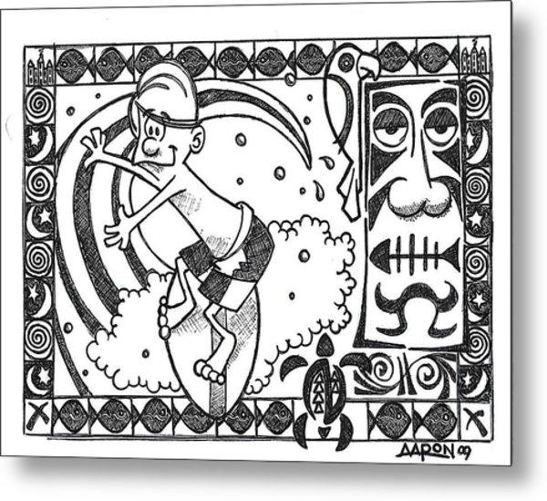 Surfer Toon 2 Metal Print by Aaron Bodtcher