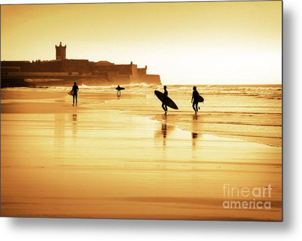 Surfers Silhouettes Metal Print
