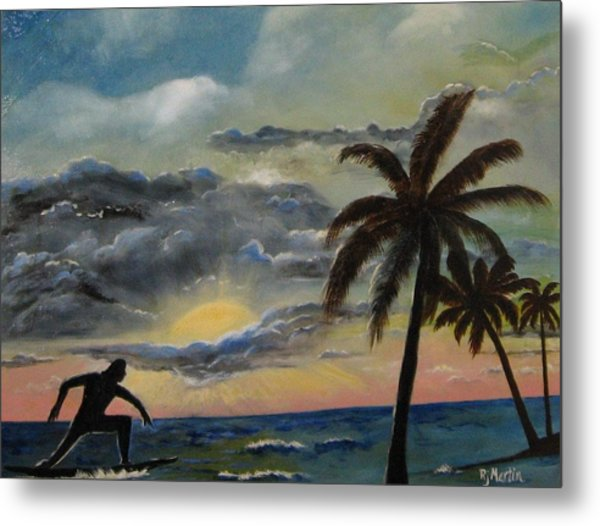 Surfers Sunset Metal Print