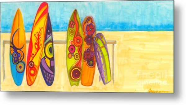 Surfing Buddies - Surf Boards At The Beach Illustration Metal Print