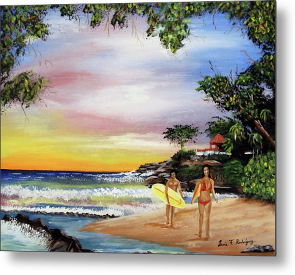 Surfing In Rincon Metal Print