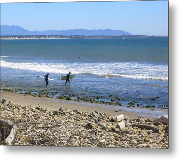 Surfing In Ventura Ca Metal Print by Robin Hernandez