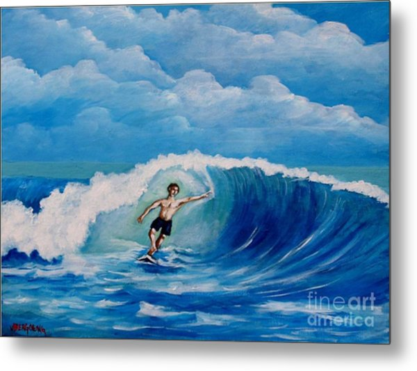 Surfing On The Waves Metal Print
