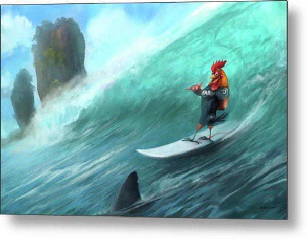 Surfing Rooster Metal Print