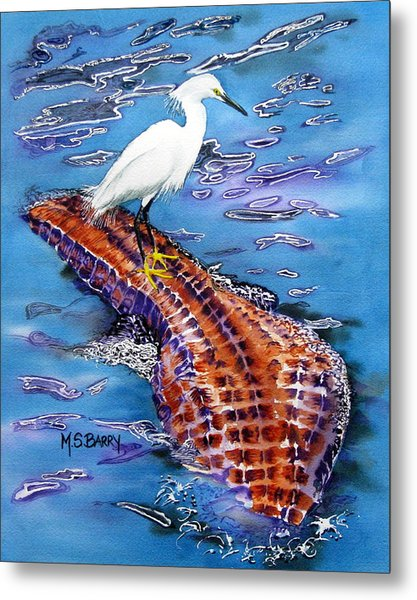 Surfing The Gator Metal Print by Maria Barry