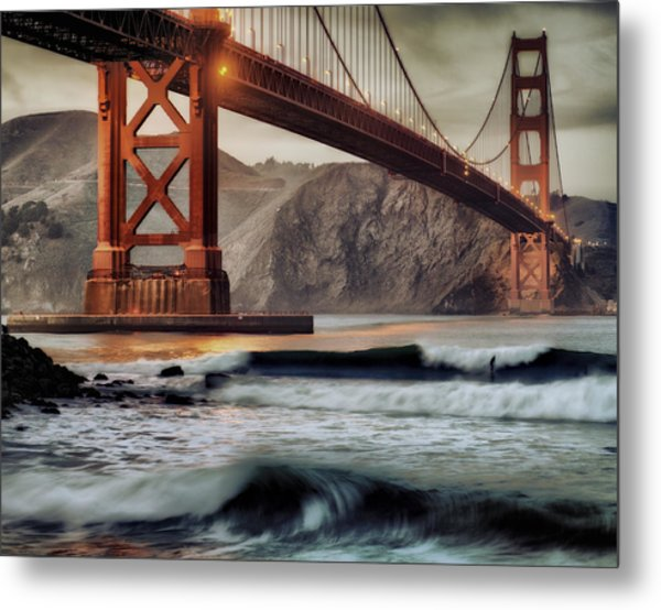 Surfing The Shadows Of The Golden Gate Bridge Metal Print