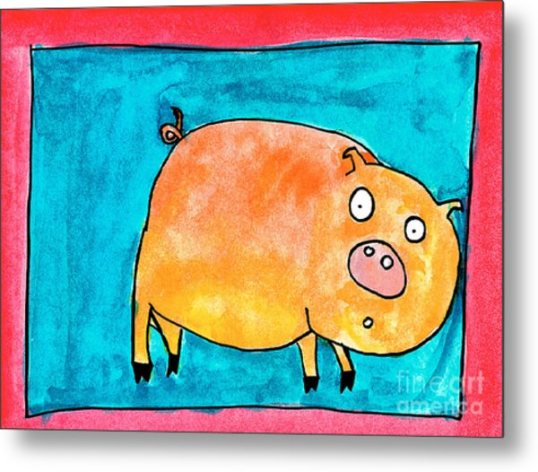 Surprised Pig Metal Print
