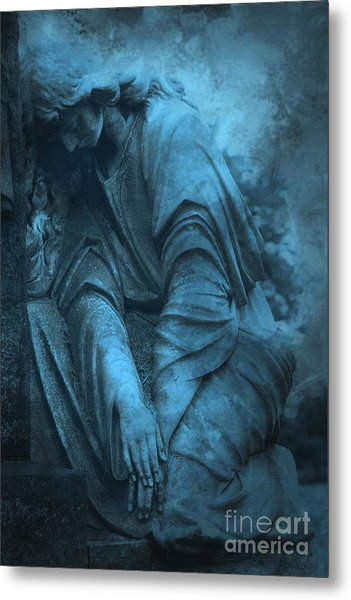 Surreal Cemetery Grave Mourner In Blue Sorrow  Metal Print by Kathy Fornal