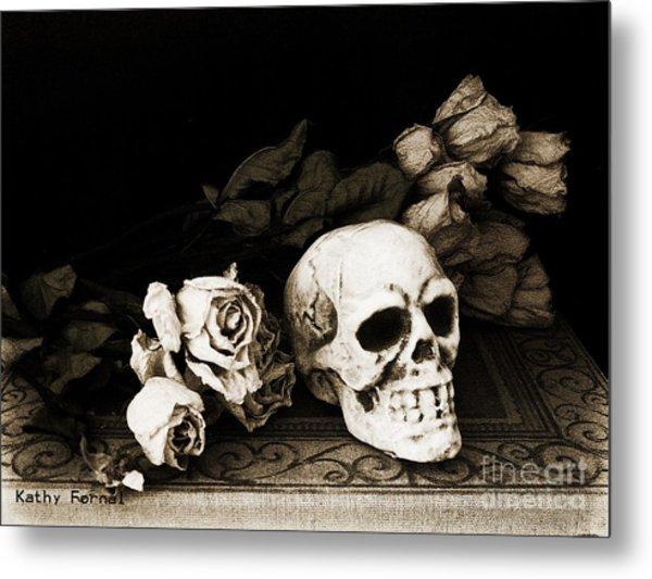 Surreal Gothic Dark Sepia Roses And Skull  Metal Print