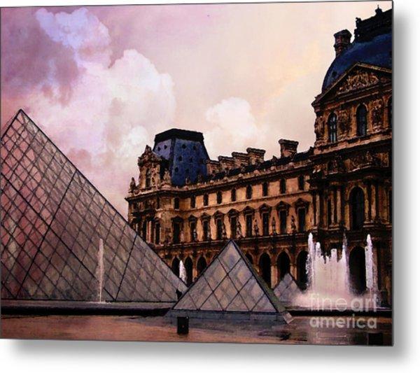 Surreal Louvre Museum Pyramid Watercolor Paintings - Paris Louvre Museum Art Metal Print