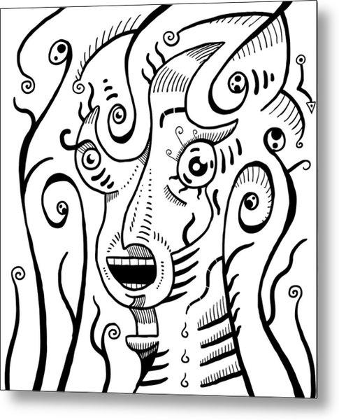 Surrealism Scream Black And White Metal Print