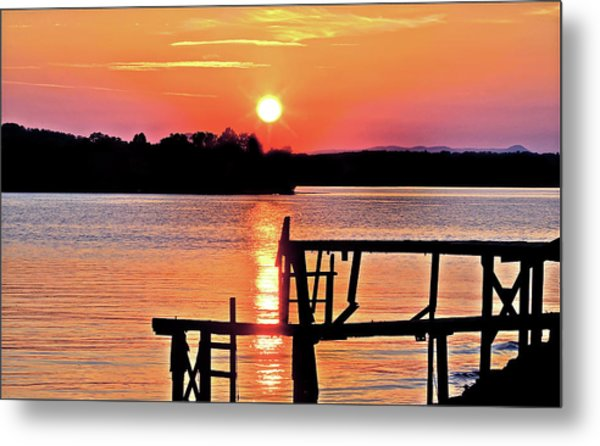 Surreal Smith Mountain Lake Dock Sunset Metal Print