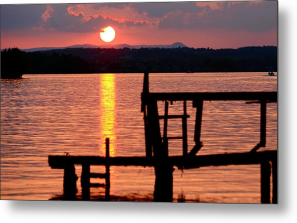 Surreal Smith Mountain Lake Dockside Sunset 2 Metal Print