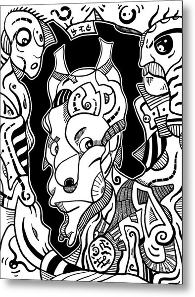 Surrealism Pagan Black And White Metal Print