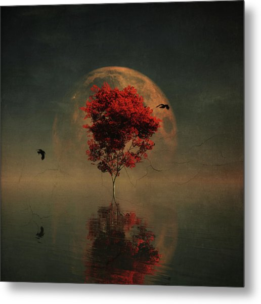 Surrealistic Landscape With Red Mapple And Full Moon Metal Print