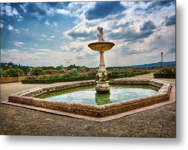 The Monkeys Fountain At The Gardens Of The Knight In Florence, Italy Metal Print