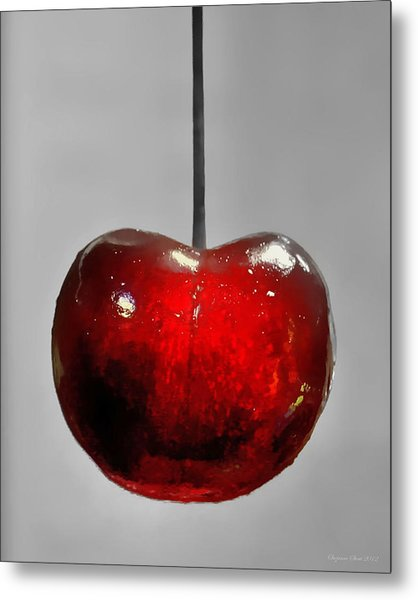 Suspended Cherry Metal Print