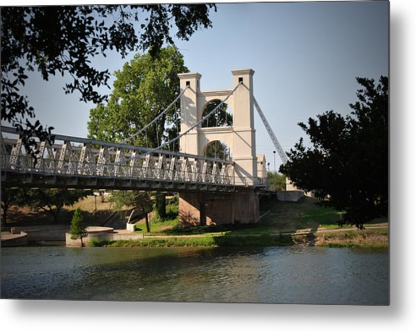 Suspension Bridge-waco Texas Metal Print