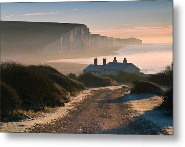 Sussex Coast Guard Cottages Metal Print