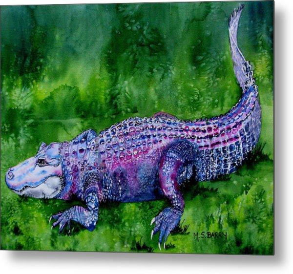 Swamp Gator Metal Print by Maria Barry