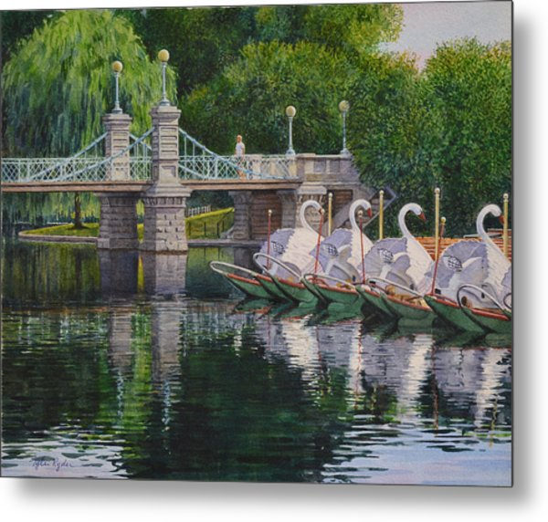 Swan Boats Boston Common Metal Print