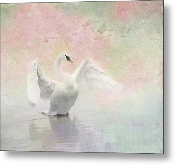 Swan Dream - Display Spring Pastel Colors Metal Print