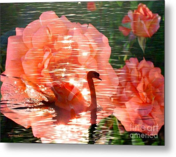 Swan In Lake With Orange Flowers Metal Print