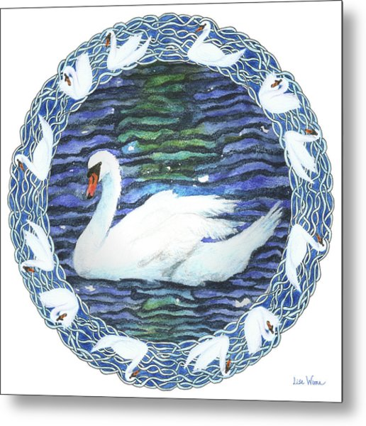 Swan With Knotted Border Metal Print