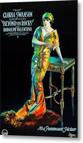 Swanson And Valentino In Beyond The Rocks 1922 Metal Print