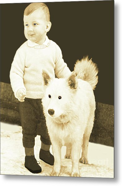 Sweet Vintage Toddler With His White Mutt Metal Print