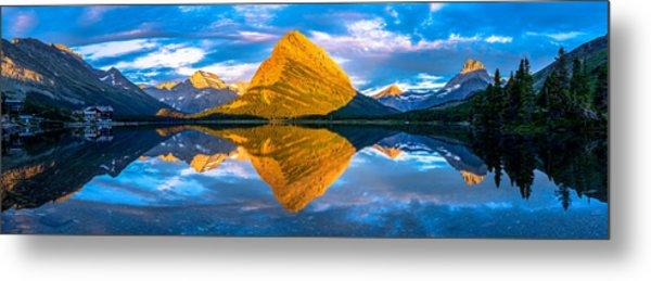 Swiftcurrent Lake Sunrise Panorama Metal Print