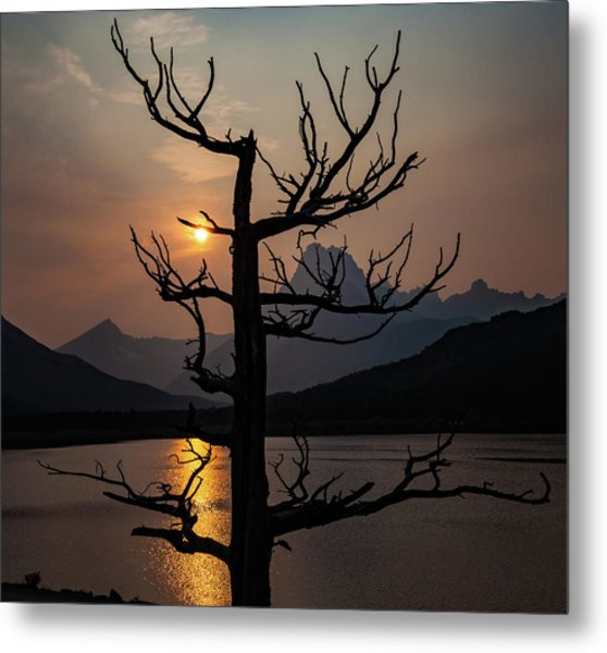 Metal Print featuring the photograph Swiftcurrent Sunset by Lon Dittrick