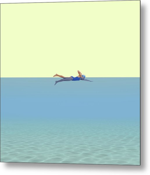 Swimming Girl Metal Print