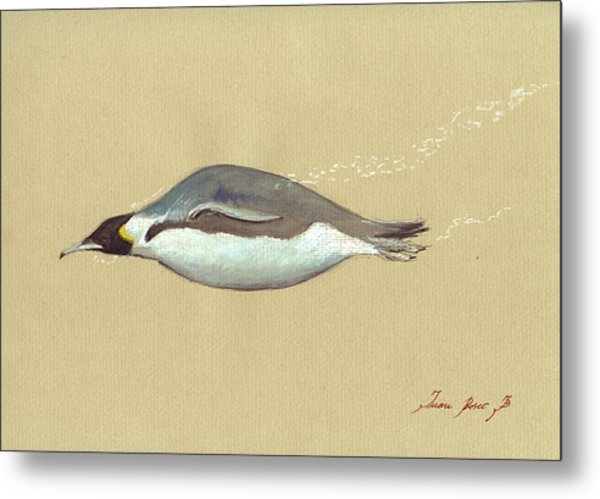 Swimming Penguin Painting Metal Print