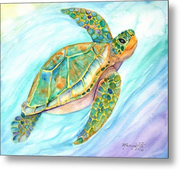 Swimming, Smiling Sea Turtle Metal Print