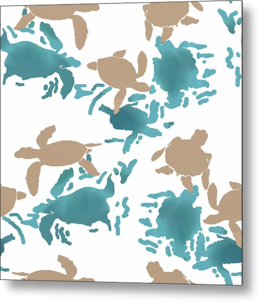 Swimming Turtles Metal Print