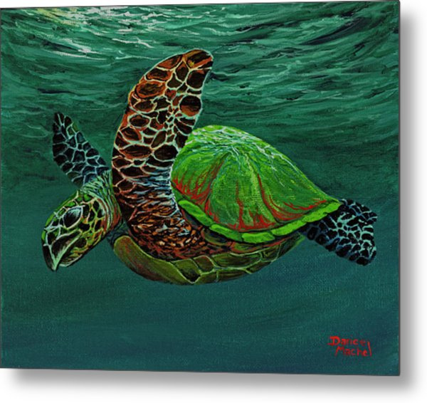 Metal Print featuring the painting Swimming With Aloha by Darice Machel McGuire