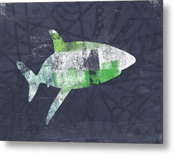 Swimming With Sharks 2- Art By Linda Woods Metal Print