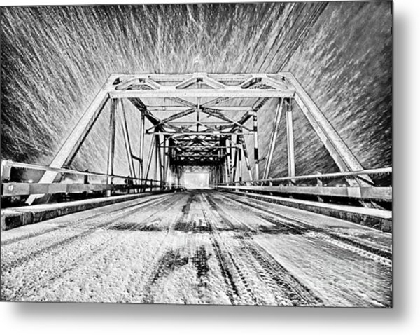 Swing Bridge Blizzard Metal Print