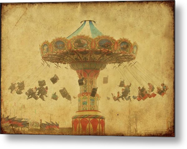 Swing Chair Ride At Jenkinsons Boardwalk - Jersey Shore Metal Print