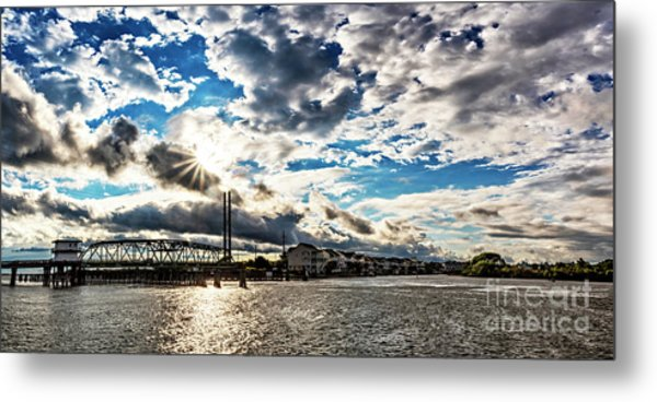 Swing Bridge Drama Metal Print