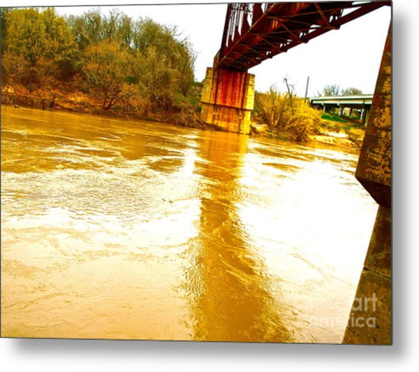Swirling Good Water And Brazos Bridge Metal Print by Chuck Taylor
