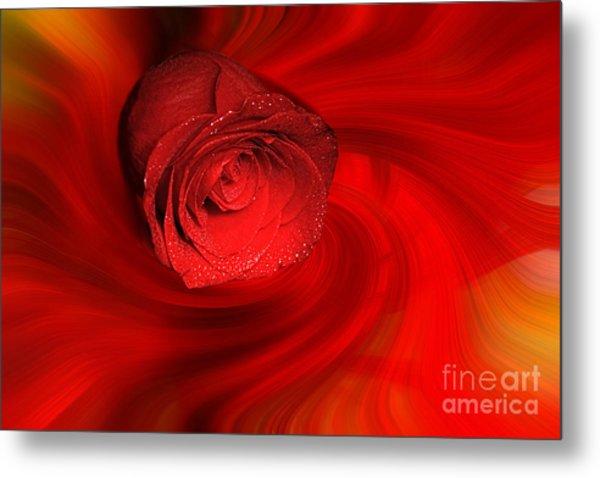 Swirling Rose Metal Print
