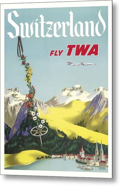 Switzerland Lake Lucerne Swiss Alps Vintage Airline Travel Poster Metal Print
