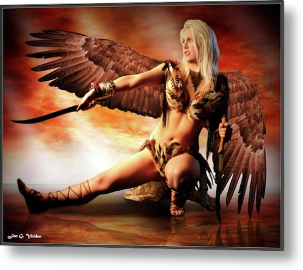 Swords Of The Hawk Woman Metal Print
